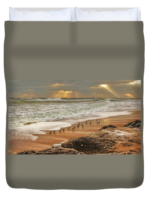 Beach Photographs Duvet Cover featuring the photograph Sandpiper Sunrise by DM Photography- Dan Mongosa
