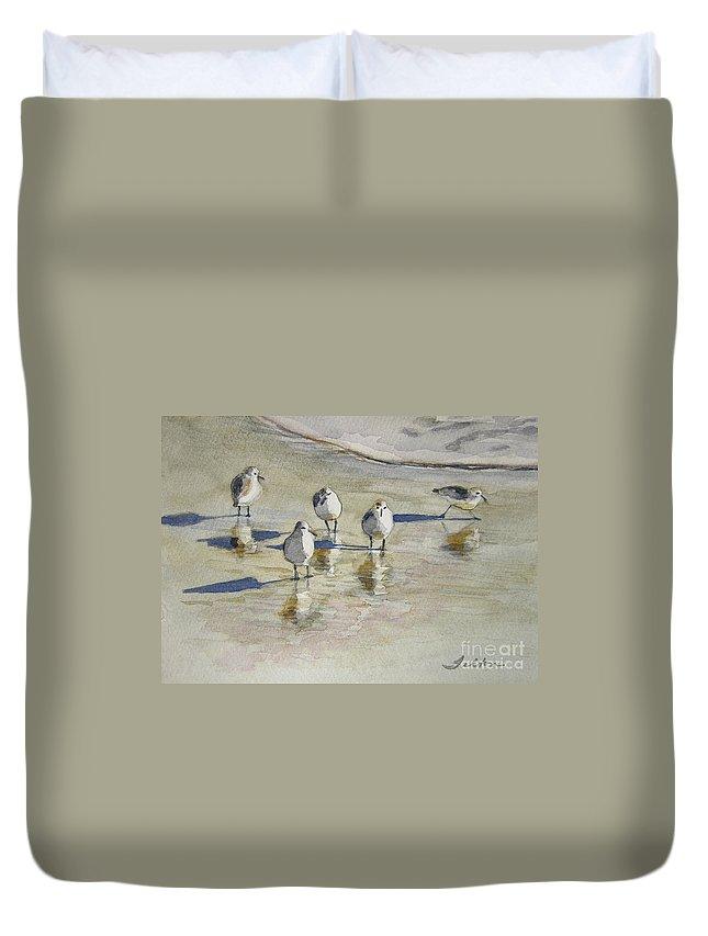 Watercolors Duvet Cover featuring the painting Sandpipers 2 Watercolor 5-13-12 Julianne Felton by Julianne Felton