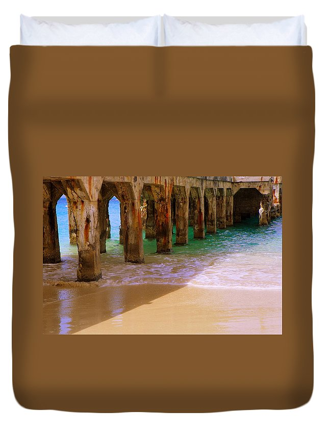 Beaches Duvet Cover featuring the photograph Sands Of Time by Karen Wiles