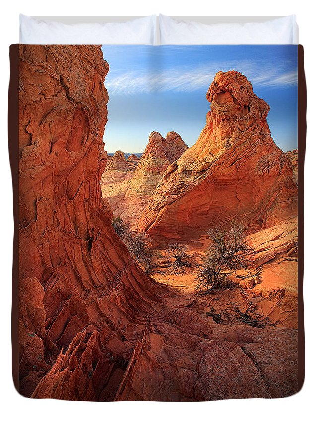 America Duvet Cover featuring the photograph Sandstone Window by Inge Johnsson