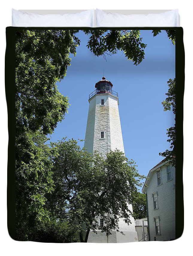 Lighthouse Duvet Cover featuring the photograph Sandy Hook Lighthouse by Christiane Schulze Art And Photography