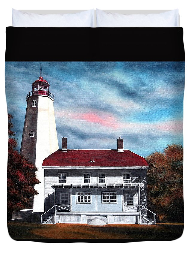 Lighthouse Duvet Cover featuring the painting Sandy Hook Lighthouse by Daniel Carvalho