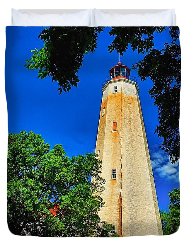 Architecture Duvet Cover featuring the photograph The Sandy Hook Lighthouse by Nick Zelinsky