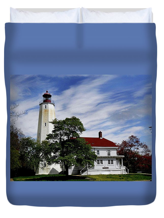 Lighthouses Duvet Cover featuring the photograph Sandy Hook Lighthouse Nj by Skip Willits