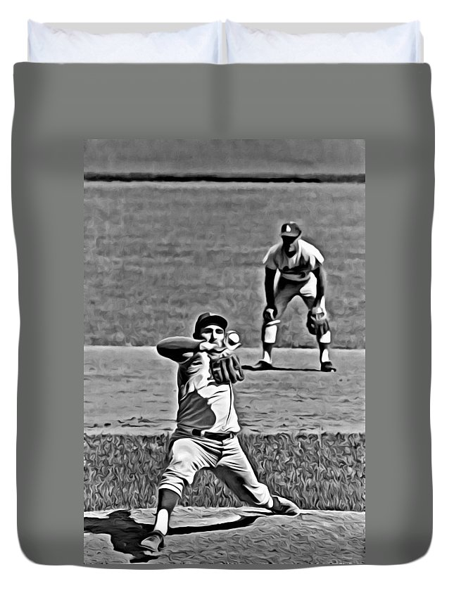 Mlb Duvet Cover featuring the painting Sandy Koufax Painting by Florian Rodarte