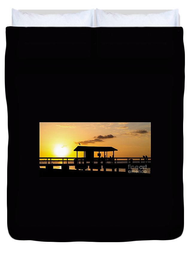 Florida Sanibel Tampa Southeast Vacation Sunset Beach Pier Duvet Cover featuring the photograph Sanibel Island Sunset by Edward Fielding