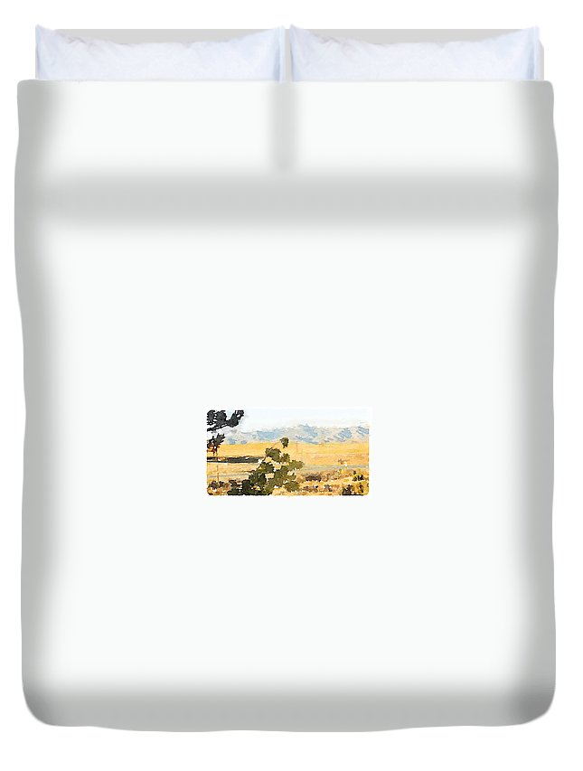 Waterlogue Duvet Cover featuring the digital art Santa Ana View by Shannon Grissom