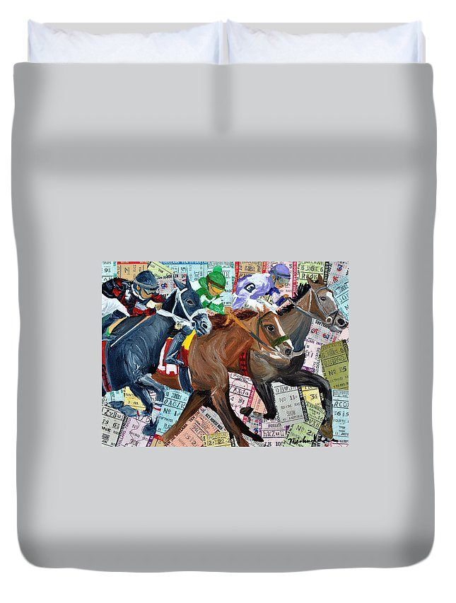 Derby Duvet Cover featuring the painting Santa Anita by Michael Lee