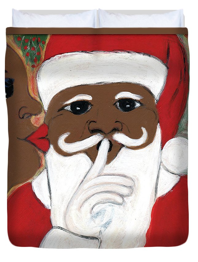 Black Art Duvet Cover featuring the painting Santa Baby by The Robert Blount Collection
