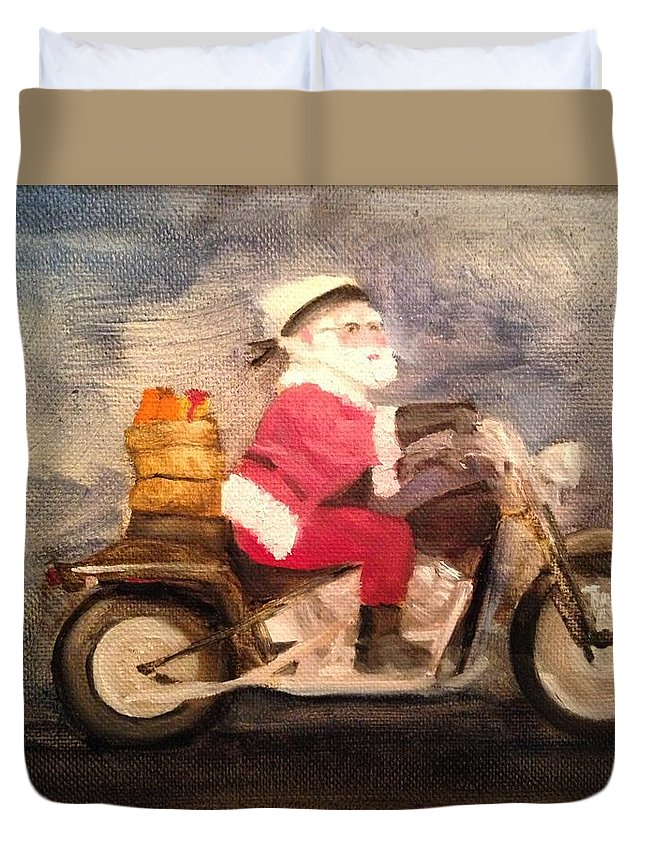 Santa Duvet Cover featuring the painting Santa Clause is Coming to Town by Sheila Mashaw