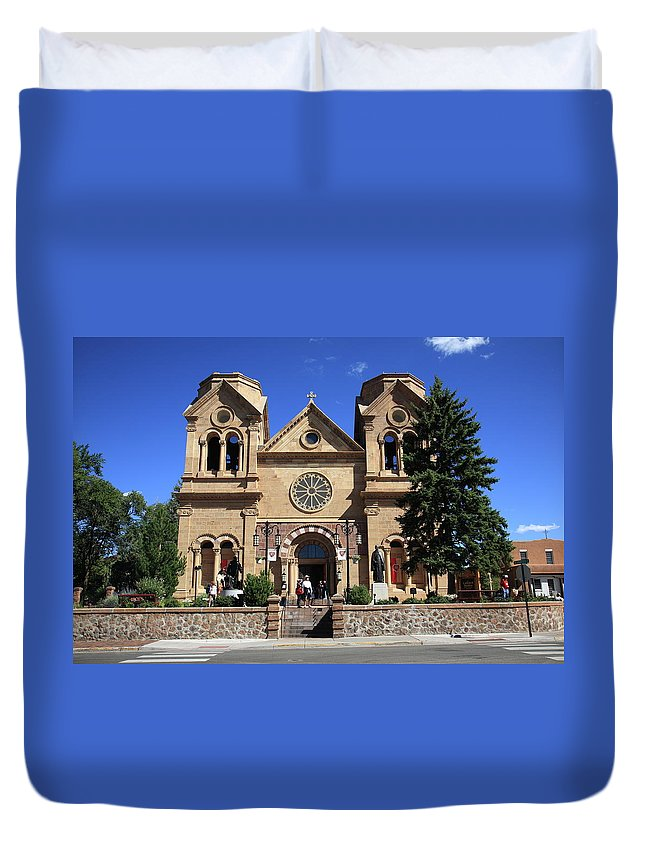 Fine Duvet Cover featuring the photograph Santa Fe - Basilica Of St. Francis Of Assisi by Frank Romeo