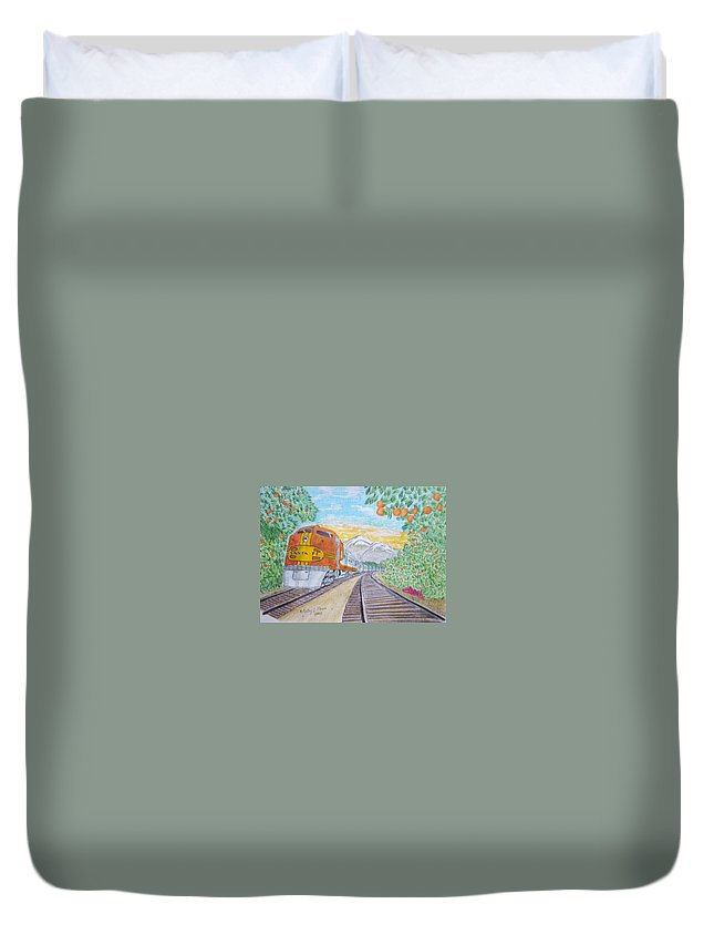 Santa Fe Duvet Cover featuring the painting Santa Fe Super Chief Train by Kathy Marrs Chandler