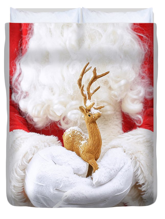 Santa Claus Duvet Cover featuring the photograph Santa Holding Reindeer Figure by Amanda Elwell