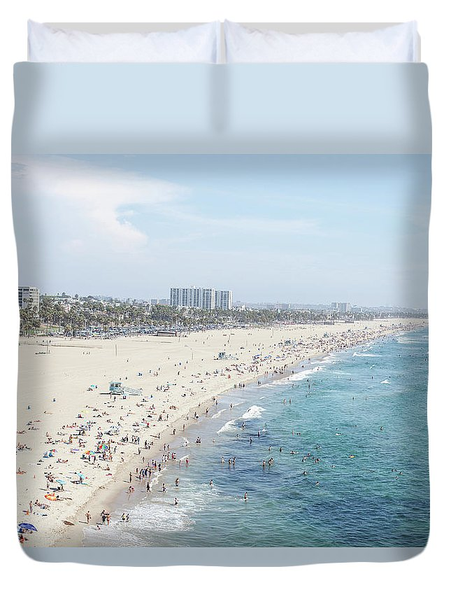 Crowd Duvet Cover featuring the photograph Santa Monica Beach by Tuan Tran