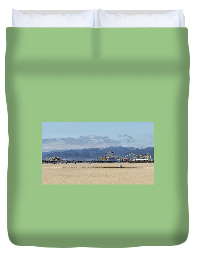 Santa Monica Pier Duvet Cover featuring the photograph Santa Monica Pier by Belinda Greb