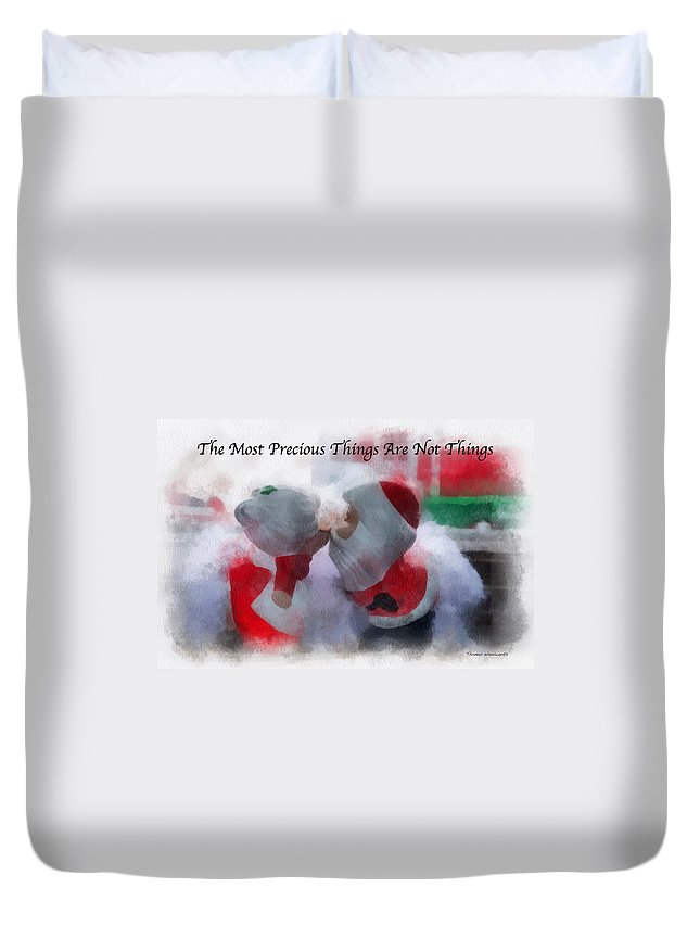 Christmas Duvet Cover featuring the photograph Santa The Most Precious Photo Art by Thomas Woolworth