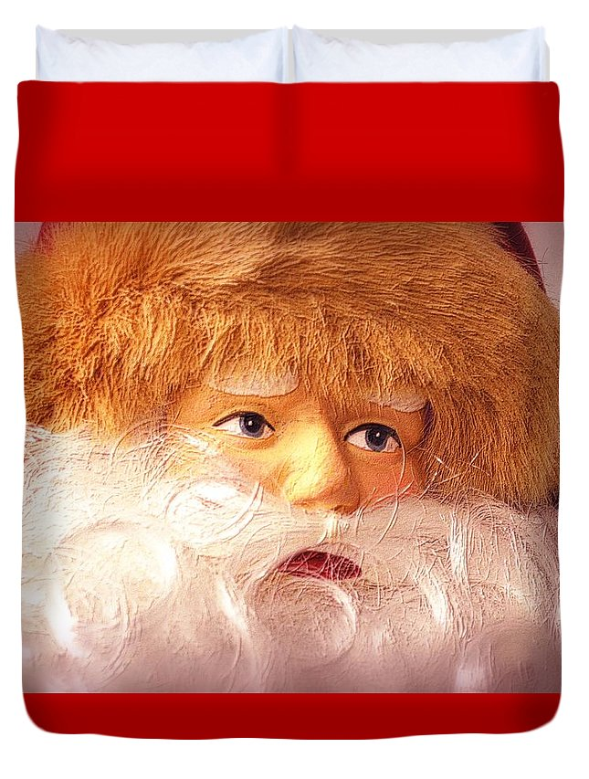 Christmas Duvet Cover featuring the photograph Santa With Big Blue Eyes by Nadalyn Larsen
