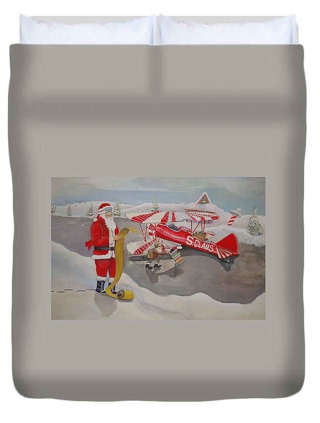 Rick Huotari Duvet Cover featuring the painting Santa's Airport by Rick Huotari