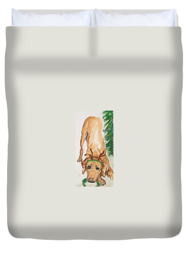 Labrador Duvet Cover featuring the drawing Santa's Helper by Cori Solomon