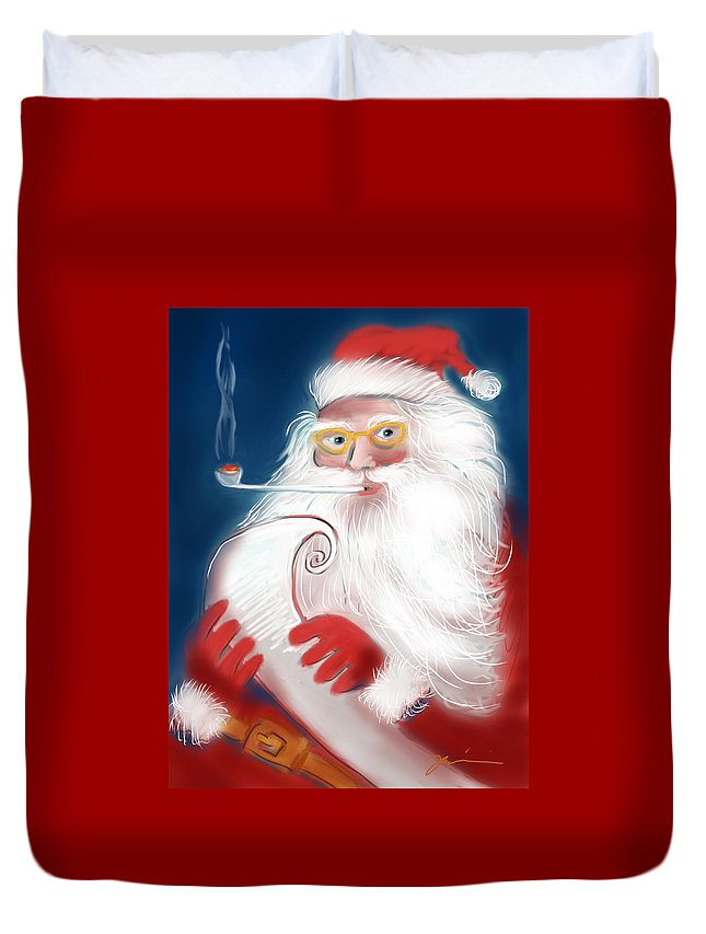 Santa Duvet Cover featuring the painting Santa's List by Jean Pacheco Ravinski
