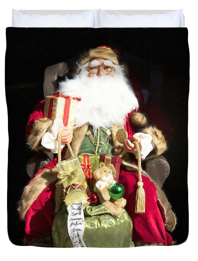Santa Duvet Cover featuring the photograph Santa's List Two by Alice Gipson