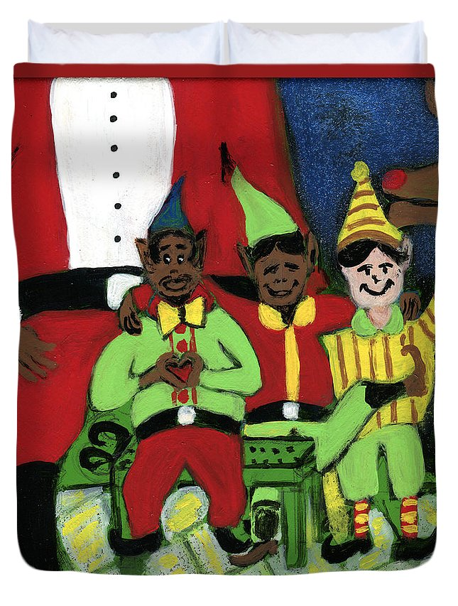 Black Art Duvet Cover featuring the painting Santa's Workshop by The Robert Blount Collection