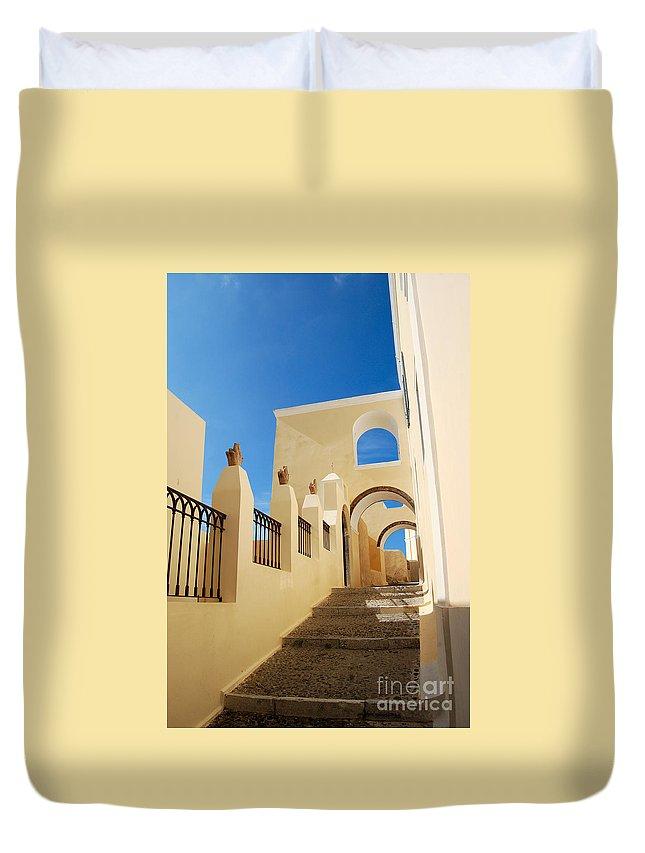 Santorini Catholic Cathedral Duvet Cover featuring the photograph Santorini Catholic Cathedral by Eva Kaufman
