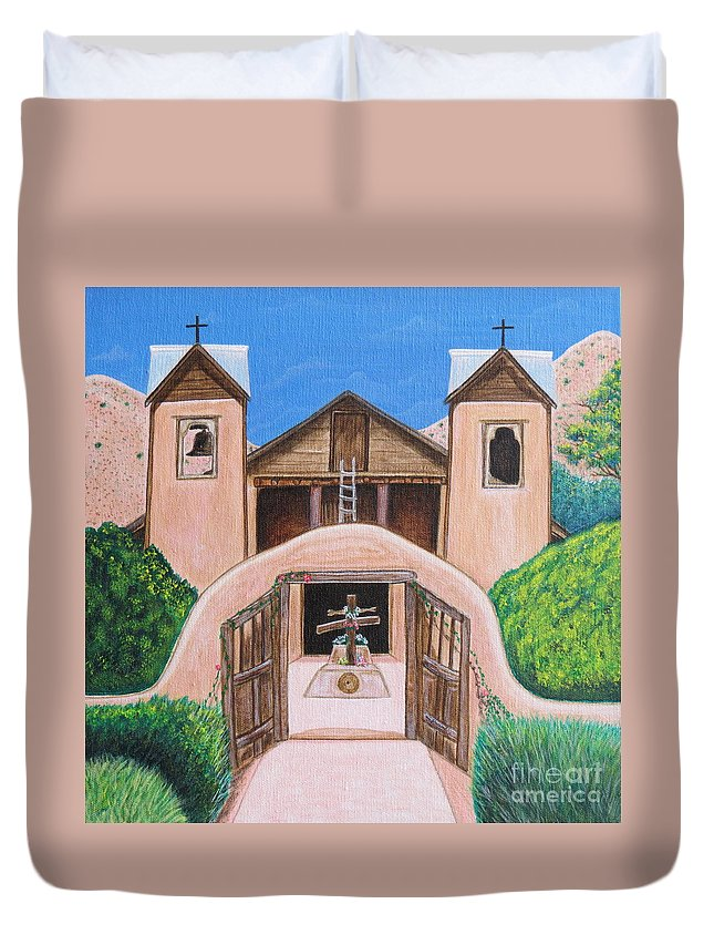 Aimee Mouw Duvet Cover featuring the painting Santuario De Chimayo by Aimee Mouw