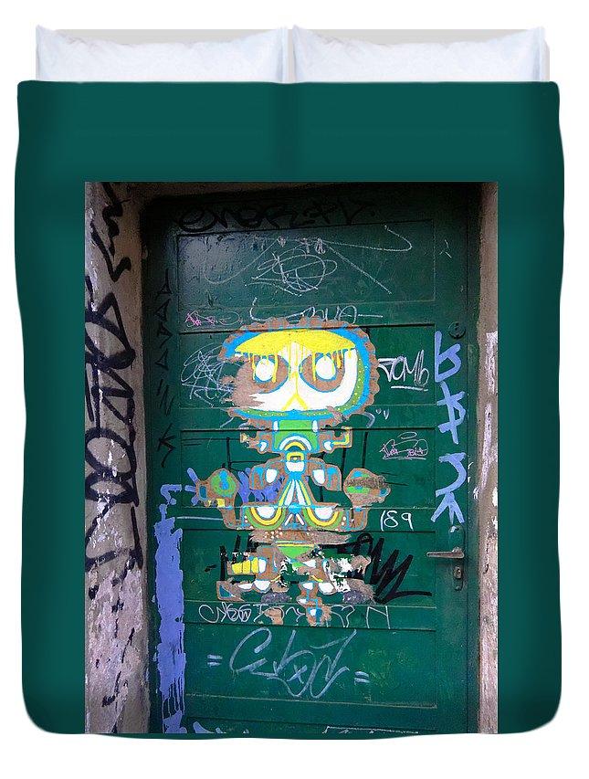 Green Duvet Cover featuring the photograph Sao Paulo Green Door II by Julie Niemela