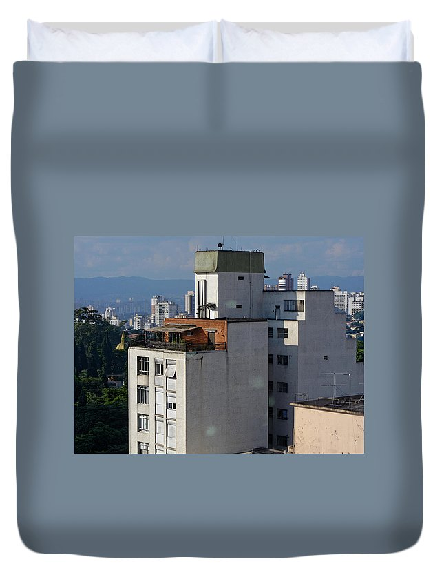 Architecture Duvet Cover featuring the photograph Sao Paulo Penthouse by Julie Niemela