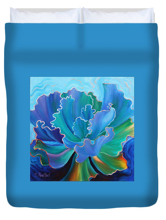 Succulent Duvet Cover featuring the painting Sapphire Solitaire by Sandi Whetzel
