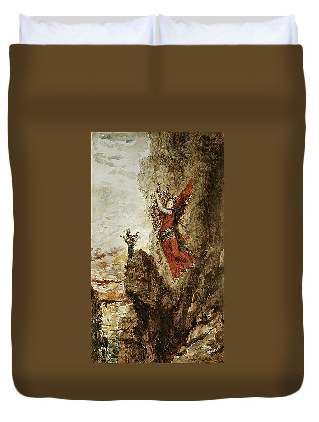 Gustave Moreau Duvet Cover featuring the painting Sappho In Lefkada by Gustave Moreau