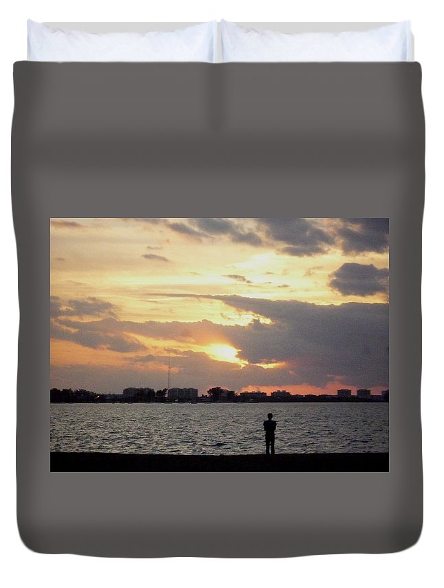 Sunset Duvet Cover featuring the photograph Sarasota 's Sunset by To-Tam Gerwe