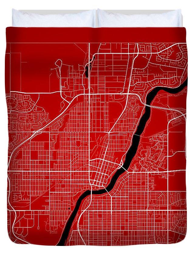 Road Map Duvet Cover featuring the digital art Saskatoon Street Map - Saskatoon Canada Road Map Art On Color by Jurq Studio
