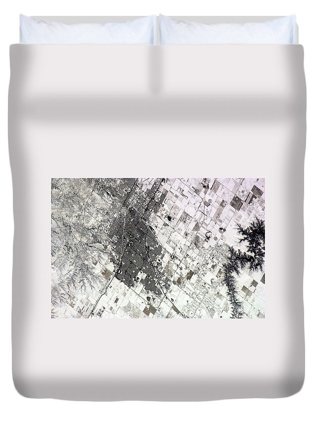 Texas Duvet Cover featuring the photograph Satellite View Of Amarillo, Texas by Stocktrek Images