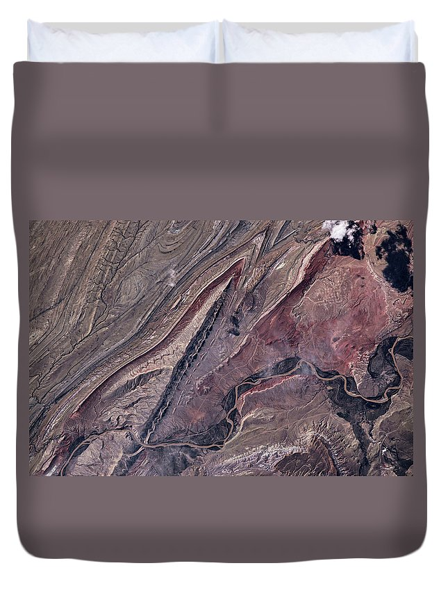 Photography Duvet Cover featuring the photograph Satellite View Of Big Horn, Wyoming, Usa by Panoramic Images