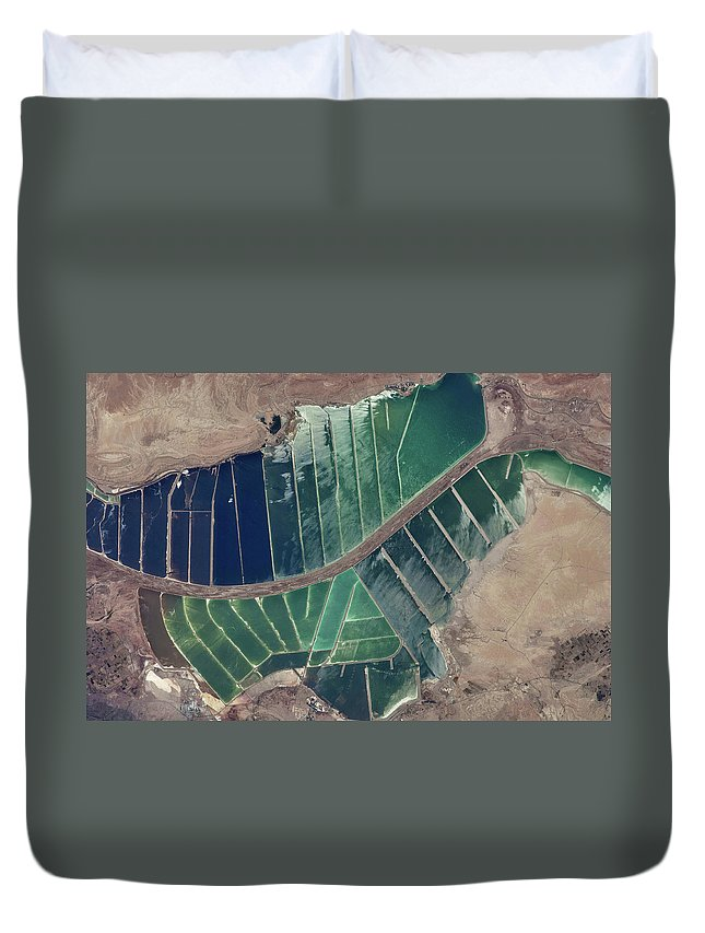 Photography Duvet Cover featuring the photograph Satellite View Of Salt Evaporation by Panoramic Images