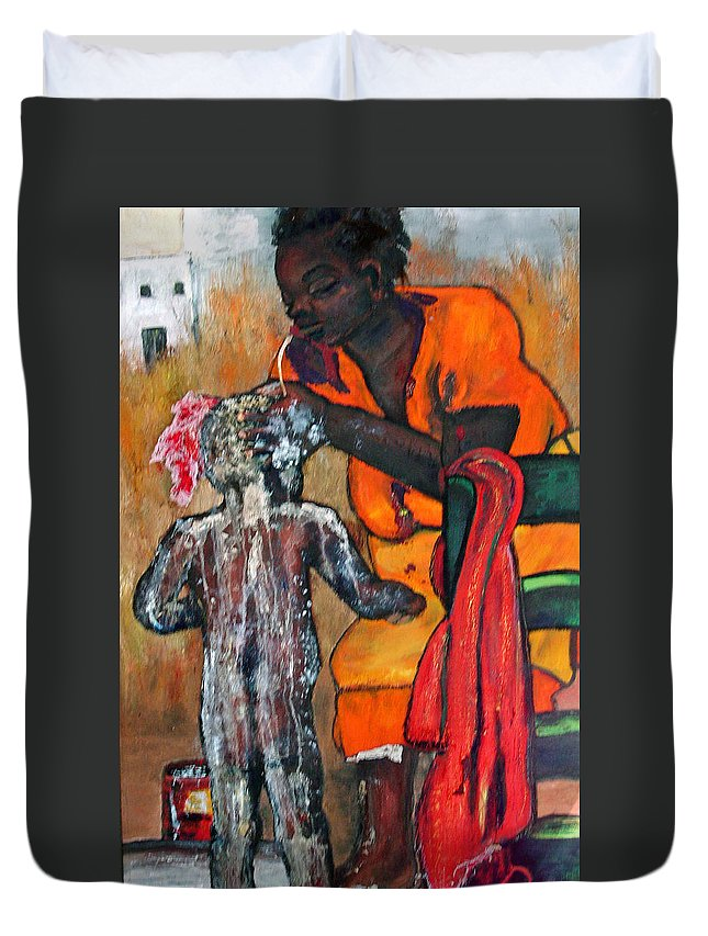 Mom Bathing Boy Duvet Cover featuring the painting Saturday Night Bath by Peggy Blood