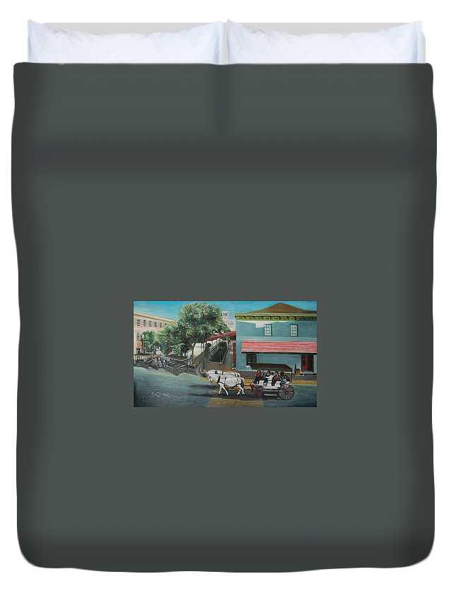 Duvet Cover featuring the painting Savannah City Market by Jude Darrien