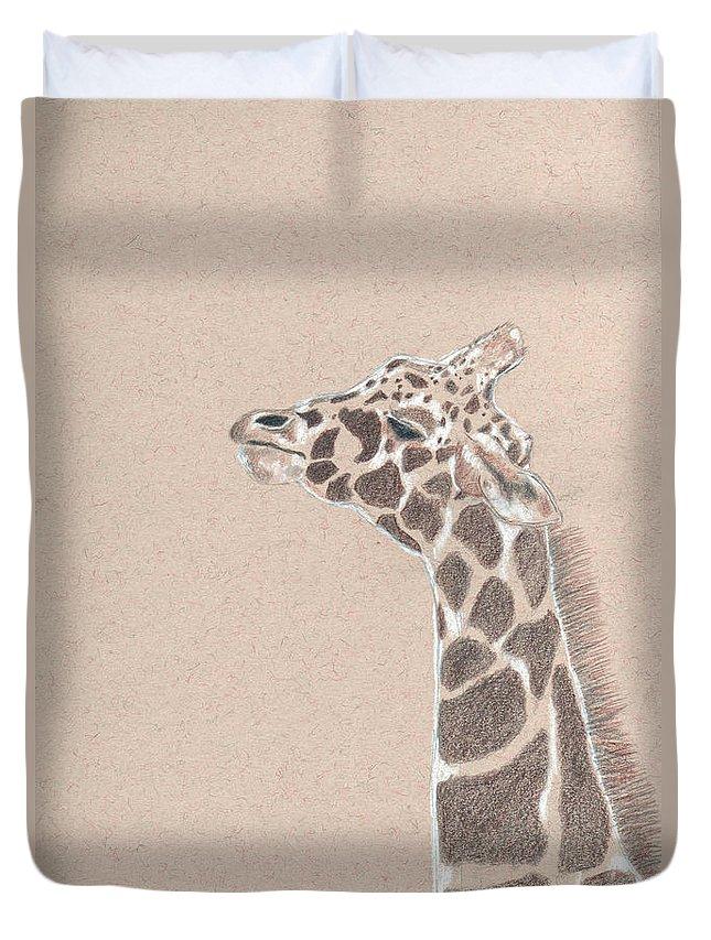 Giraffe Duvet Cover featuring the drawing Savannah by Crystal Hubbard