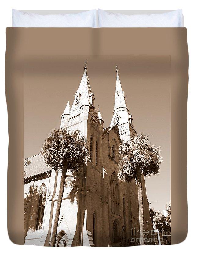 Savannah Duvet Cover featuring the photograph Savannah Sepia - Methodist Church by Carol Groenen