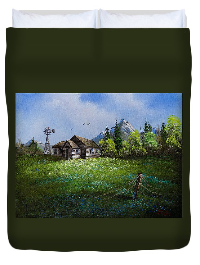 Cabin Duvet Cover featuring the painting Sawtooth Mountain Homestead by Chris Steele