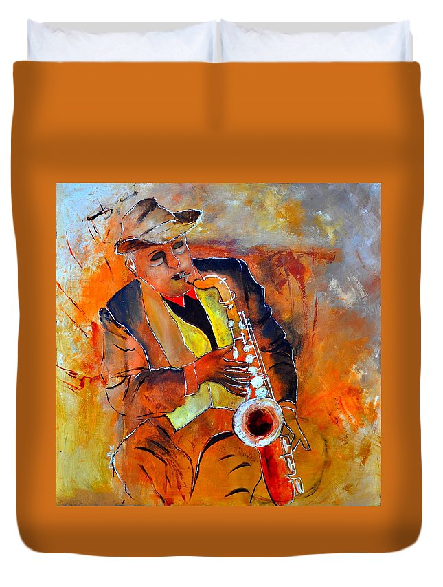 Sax Duvet Cover featuring the painting Saxplayer 88 by Pol Ledent