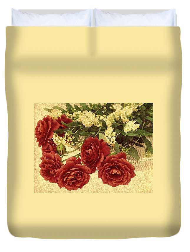 Rose Duvet Cover featuring the photograph Say You Love Me by Georgiana Romanovna