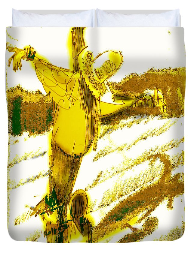 Scarecrow Babysitter Duvet Cover featuring the digital art Scarecrow Babysitter by Seth Weaver