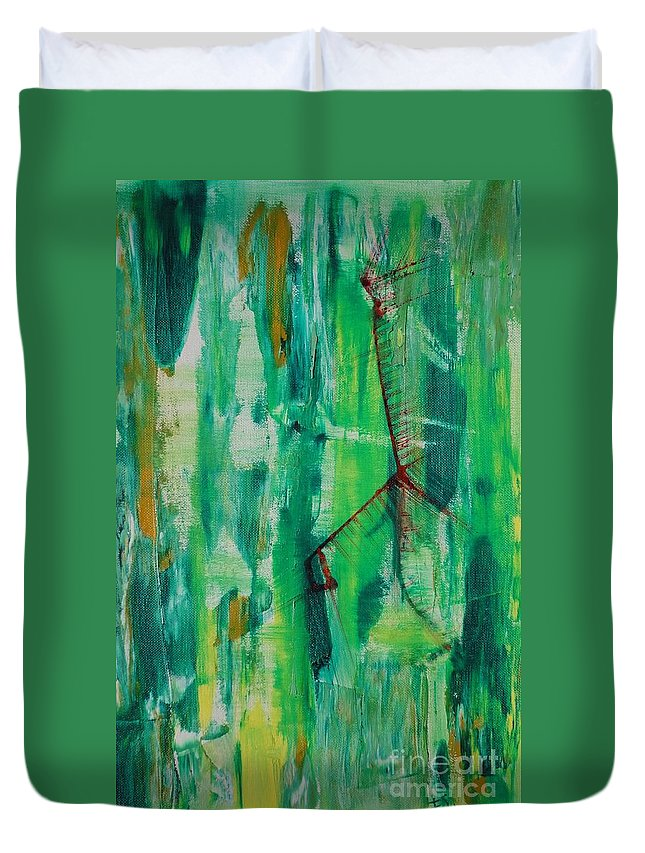 Aflutter Duvet Cover featuring the painting Scared Out Of My Wits by PainterArtist FIN