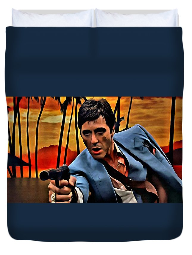 Scarface Duvet Cover featuring the painting Scarface by Florian Rodarte