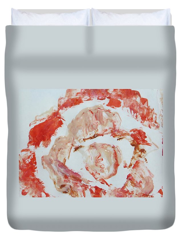 Scarlet Flower Duvet Cover featuring the painting Scarlet Beauty by Sonali Gangane