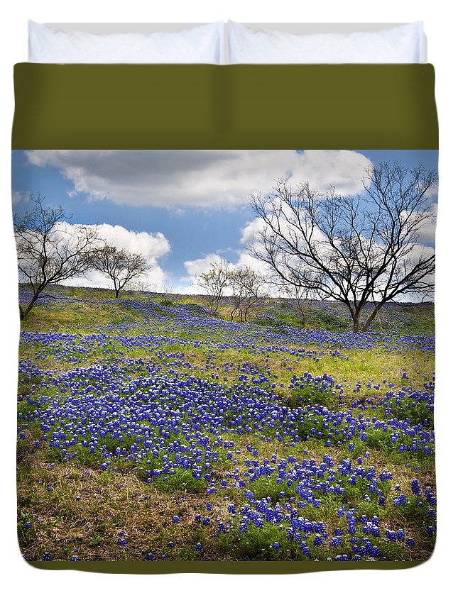 Bluebonnets Duvet Cover featuring the photograph Scattered Bluebonnets by David and Carol Kelly