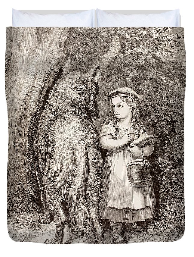 Little Red Riding Hood Duvet Cover featuring the drawing Scene From Little Red Riding Hood by Gustave Dore